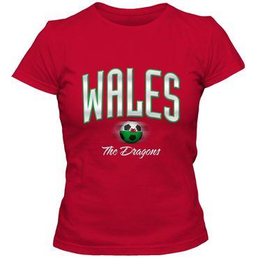 Damen Fußball T-Shirt Wales Cymru Football EM Trikot DTG – Bild 1