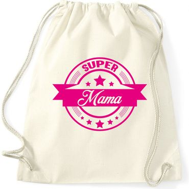 Turnbeutel  SUPER MAMA  Mutter Fun Spass Gymnastikbeutel Bag  – Bild 1