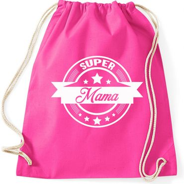 Turnbeutel  SUPER MAMA  Mutter Fun Spass Gymnastikbeutel Bag  – Bild 2