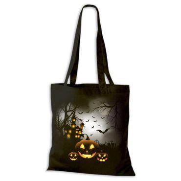 Baumwolltasche Jutebeutel Halloween Vampire Geister Dracula Stoffbeutel Süßes Saures DTG 02 – Bild 1