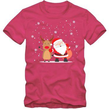 Kinder unisex T-Shirt Weihnachten Weihnachtsmann Rudolph Rentier Nikolaus DTG 01 – Bild 3