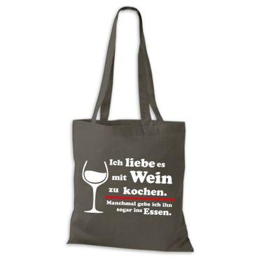 Baumwolltasche Jutebeutel Ich liebe es mit Wein zu kochen Essen Sprüche Fun Spass Stoffbeutel  – Bild 5