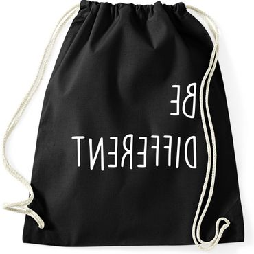Turnbeutel BE DIFFERENT  Fun Spruch Spaß Sei du selbst individuell anders Gymnastikbeutel Bag  – Bild 1
