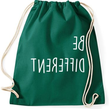 Turnbeutel BE DIFFERENT  Fun Spruch Spaß Sei du selbst individuell anders Gymnastikbeutel Bag  – Bild 2