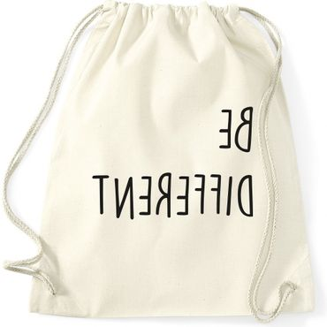 Turnbeutel BE DIFFERENT  Fun Spruch Spaß Sei du selbst individuell anders Gymnastikbeutel Bag  – Bild 3