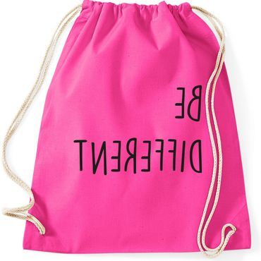 Turnbeutel BE DIFFERENT  Fun Spruch Spaß Sei du selbst individuell anders Gymnastikbeutel Bag  – Bild 4