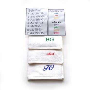 Gästetuch mit Monogramm / Initialen  bestickt, 30x50cm, verschiedene Farben, schwere 500g-Qualität, 100% Baumwolle – Bild 1