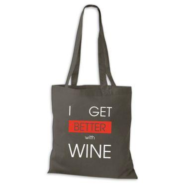 Baumwolltasche Jutebeutel  I GET BETTER WITH WINE Wein Spaß Lustig Fun Stoffbeutel  – Bild 2