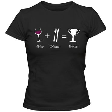 Damen T-Shirt WINE + DINNER = WINNER Wein Spaß Lustig Fun  Tee  – Bild 1