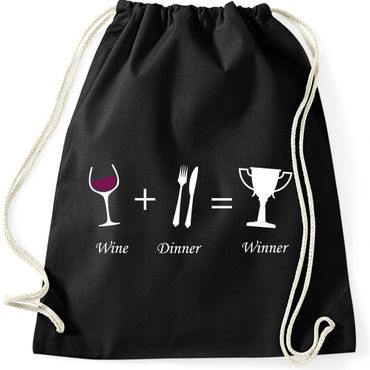 Turnbeutel WINE + DINNER = WINNER Wein Spaß Lustig Fun Gymnastikbeutel Bag  – Bild 5