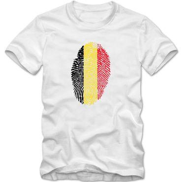 Herren T-Shirt BELGIEN Belgium Fußball Trikot Fingerabdruck WM EM – Bild 1