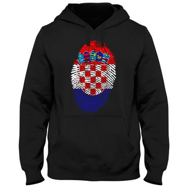 Hoody Hoodie Kapuzenpulli CROATIA Kroatien Hrvatska Fußball Fingerabdruck WM EM – Bild 3