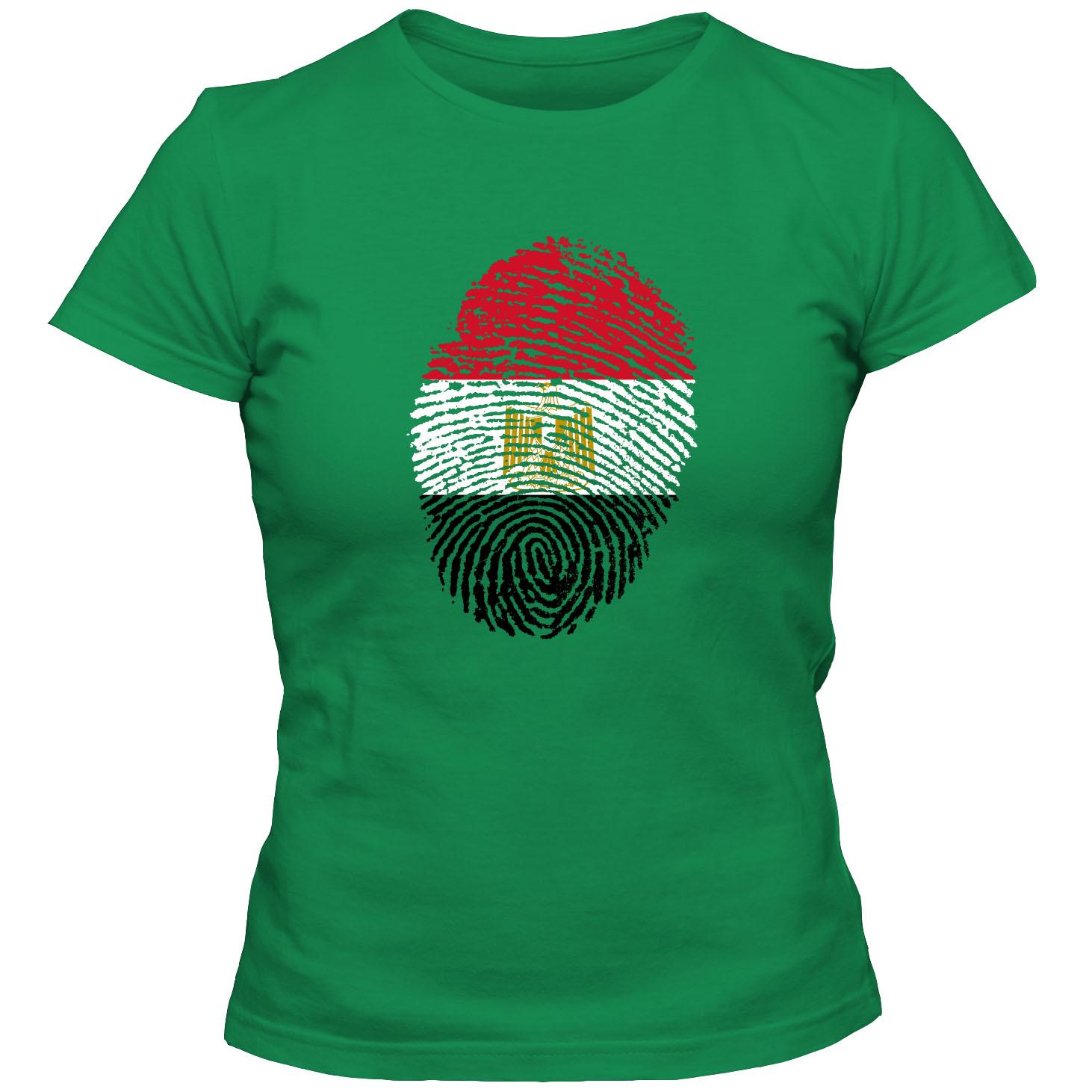 Damen T Shirt Egypt Agypten Fussball Trikot Fingerabdruck Wm