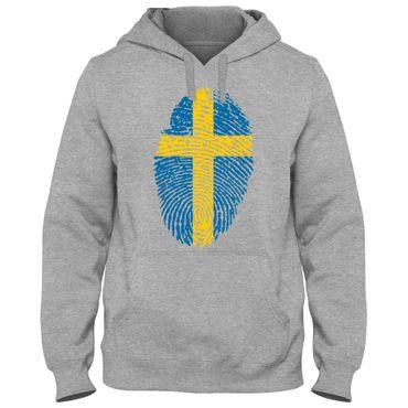 Hoody Hoodie Kapuzenpulli SWEDEN Sverige Schweden  Fußball Fingerabdruck WM EM – Bild 1