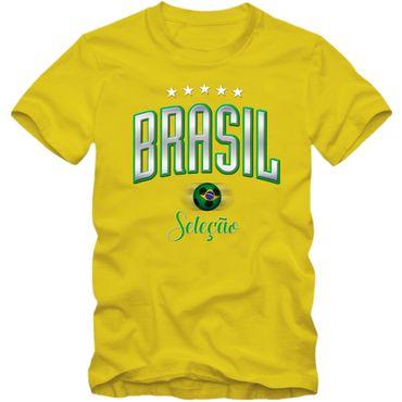 Herren T-Shirt Brasil Brasilien Brazil Fußball Soccer Football WM Trikot 5 Sterne DTG – Bild 3