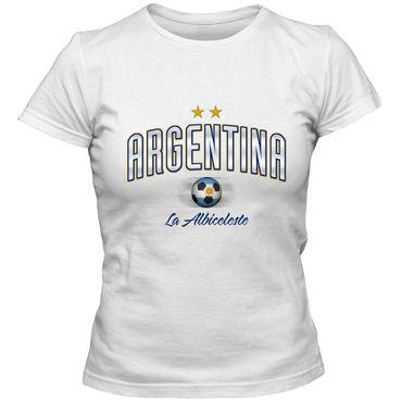 Damen T-Shirt Argentina  Argentinien  Fußball Soccer Football WM Trikot DTG – Bild 5