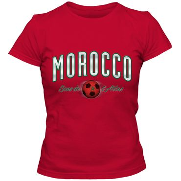 Damen T-Shirt  Morocco Marokko Fußball Soccer Football WM Trikot  DTG – Bild 1