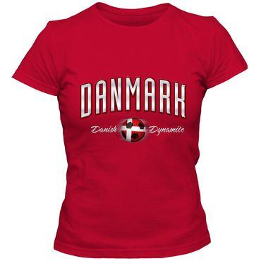 Damen T-Shirt Danmark Denmark Dänemark Fußball Soccer Football EM WM Trikot DTG – Bild 1