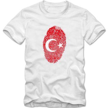Herren T-Shirt TURKEY Türkei  Türkiye  Fußball Trikot Fingerabdruck WM EM – Bild 1