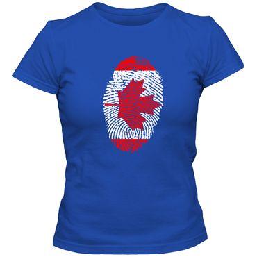 Damen T-Shirt CANADA  Kanada  Ahorn Blatt Eishockey  Fußball Trikot Fingerabdruck WM  – Bild 4