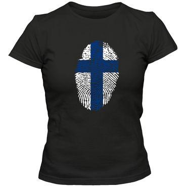 Damen T-Shirt FINLAND  Finnland  Eishockey Suomi  Fußball Trikot Fingerabdruck WM EM – Bild 1