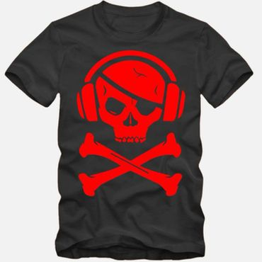 Herren T-Shirt Party Pirat Totenkopf Skelett Pirate rot Tee S-3XL NEU TOP QUALITÄT!