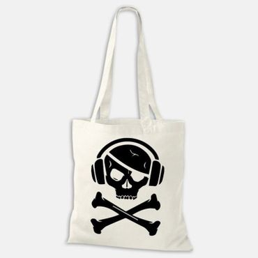 Baumwolltasche Jutebeutel Party Pirat Totenkopf Skull Skelett Pirate Bag NEU