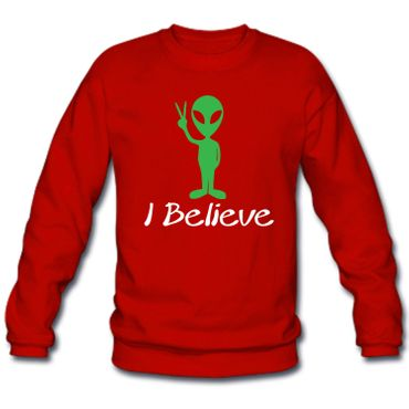 Herren Sweatshirt Sweater I Believe Alien Space Universum Universe Fun S-3XL NEU