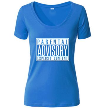 Damen Women T-Shirt Parental Advisory Explicit Content Records CD Fun Tee S-3XL – Bild 5