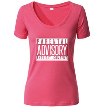 Damen Women T-Shirt Parental Advisory Explicit Content Records CD Fun Tee S-3XL – Bild 8