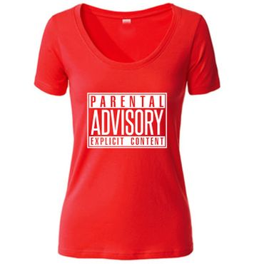 Damen Women T-Shirt Parental Advisory Explicit Content Records CD Fun Tee S-3XL – Bild 2