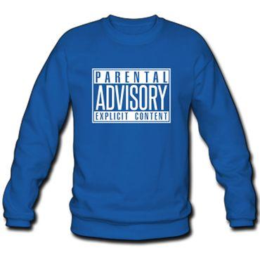 Herren Sweatshirt Sweater Parental Advisory Explicit Content Records Fun S-3XL