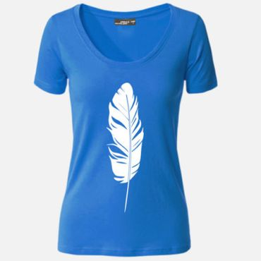 Damen T-Shirt Feder Feather stylisch design Party Shirt Tee S-3XL NEU