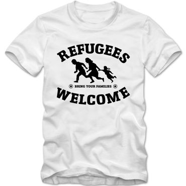 Herren T-Shirt Refugees Welcome Shirt Tee S-3XL NEU – Bild 3