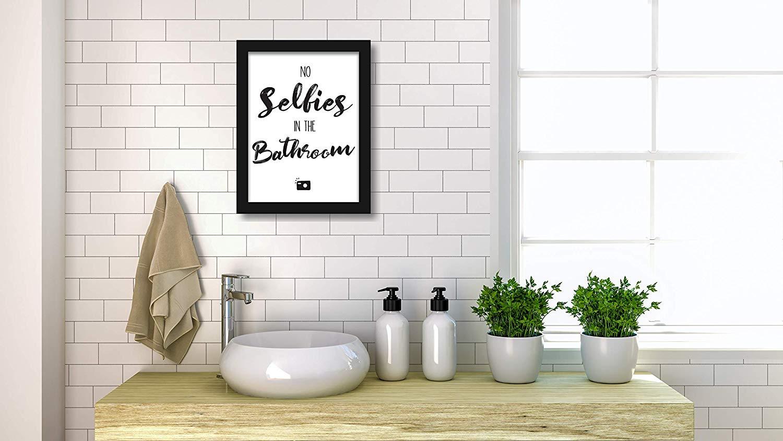Premium 20er Set lustige Bad WC Sprüche   Badezimmer Toilette Zitate   Deko  Bild   Kunstdruck A20 Poster witzig   mit schwarzen Rahmen