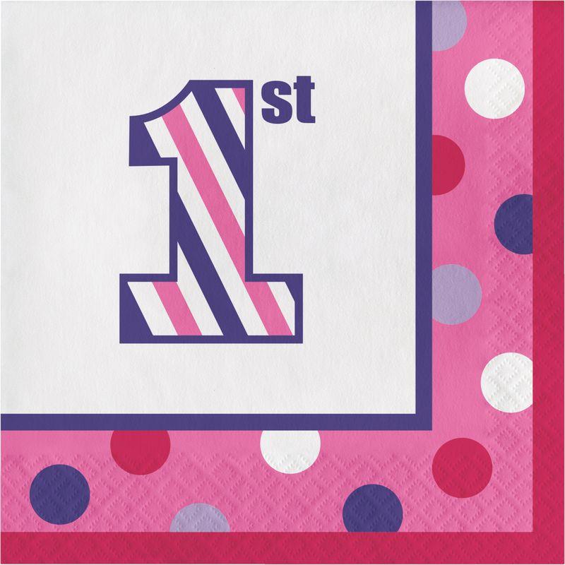 1. Geburtstag Streifen und Punkte Pink