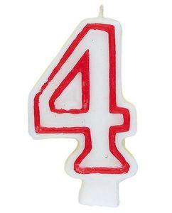 Zahlenkerze Rot Weiß Vier