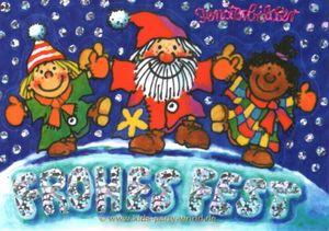 Fensterbild Postkarte Nikolaus mit Kindern