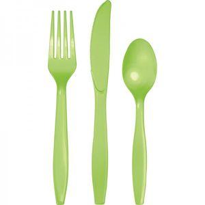 24 Teile Premium Plastik Besteck Limonen Grün – Bild 1