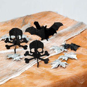 3 Mini Totenkopf Fledermaus Glitzer Tischaufsteller