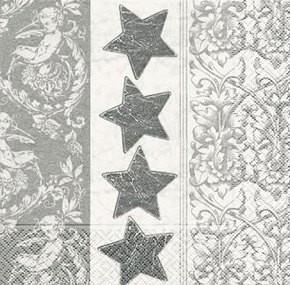Kleine Präge Servietten Silberne Sterne