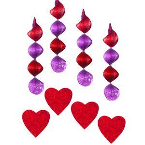 4 hängende Girlanden Herzen