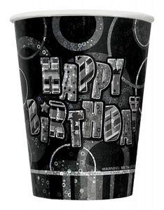 8 Happy Birthday Party Glitzer Becher Schwarz