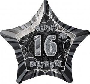 16. Geburtstag Glitzer Folien Ballon Schwarz