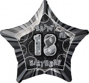 18. Geburtstag Glitzer Folien Ballon Schwarz