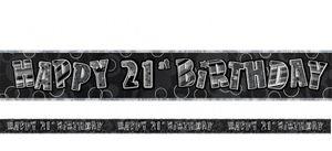 21. Geburtstag Glitzer Banner Schwarz