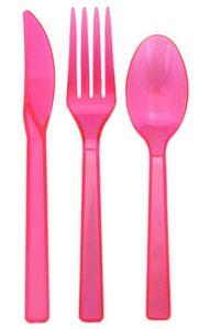 51 Teile Plastik Besteck Neon Pink