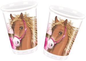 8 Pferde Party Becher Pink Pony