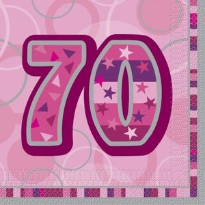 70. Geburtstag Servietten Pink