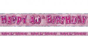 40. Geburtstag Glitzer Banner Pink